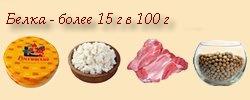 Содержание белка очень большое (сыр, творог, мясо, соя)